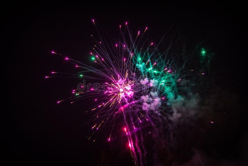 Colorful fireworks. Fireworks light up the sky - exploding firework stock image