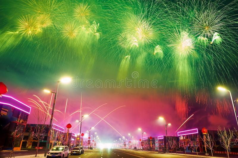 The colorful fireworks on the Motor city in Lantern Festival. The photo was taken in Motor City of Daqing city,Heilongjiang province, China.It was setting off stock image