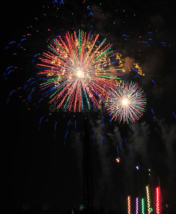 Download Colorful Fireworks In Night Sky Stock Image - Image: 100374287