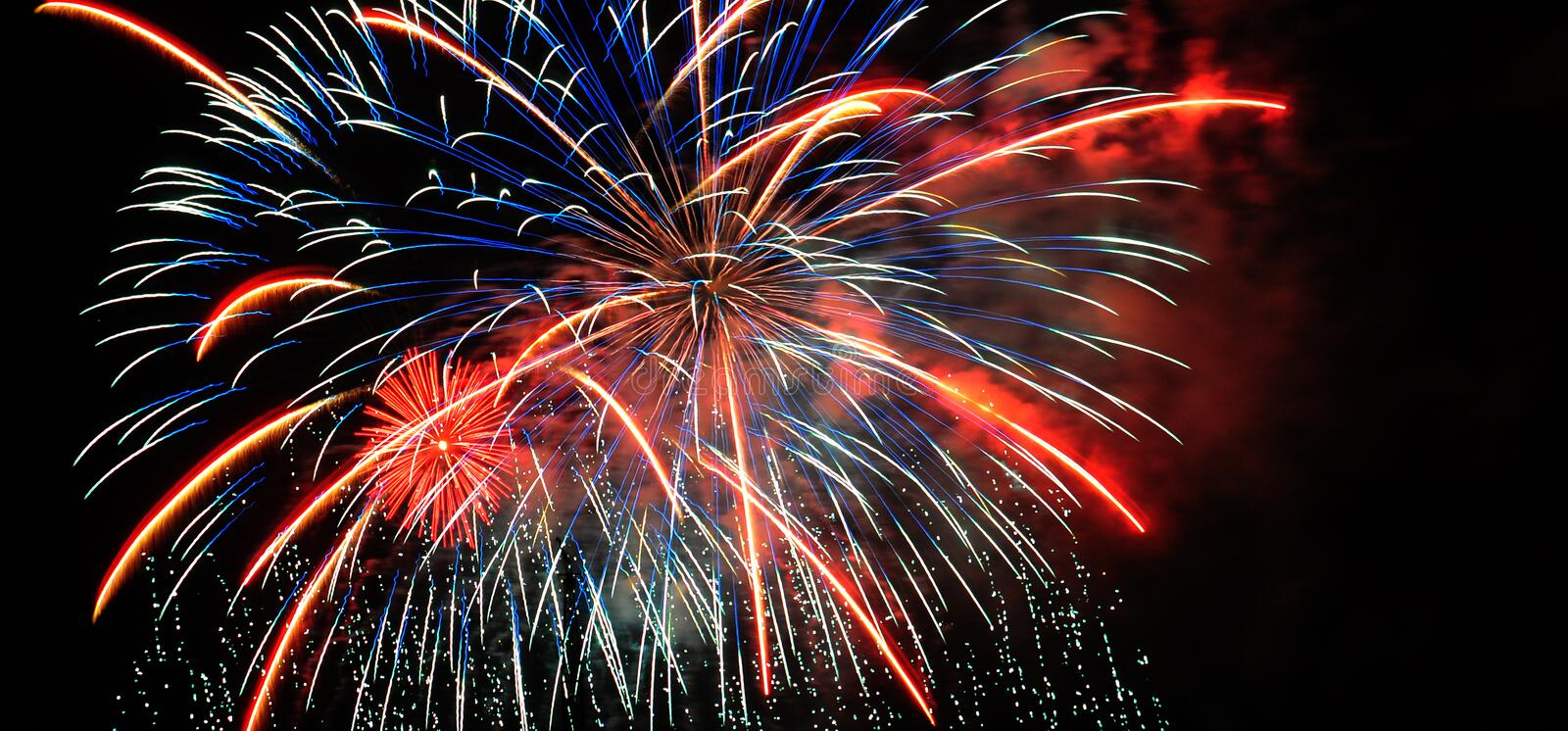 Download Colorful Fireworks In Night Sky Stock Photo - Image of colors, july: 100374674