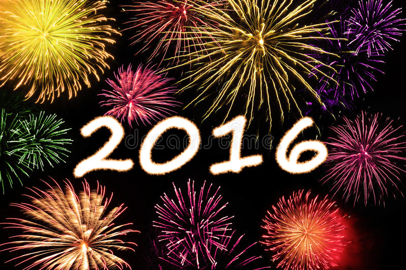 Colorful fireworks with numbers 2016. Happy new year concept with fireworks light with numbers 2016 royalty free stock photo