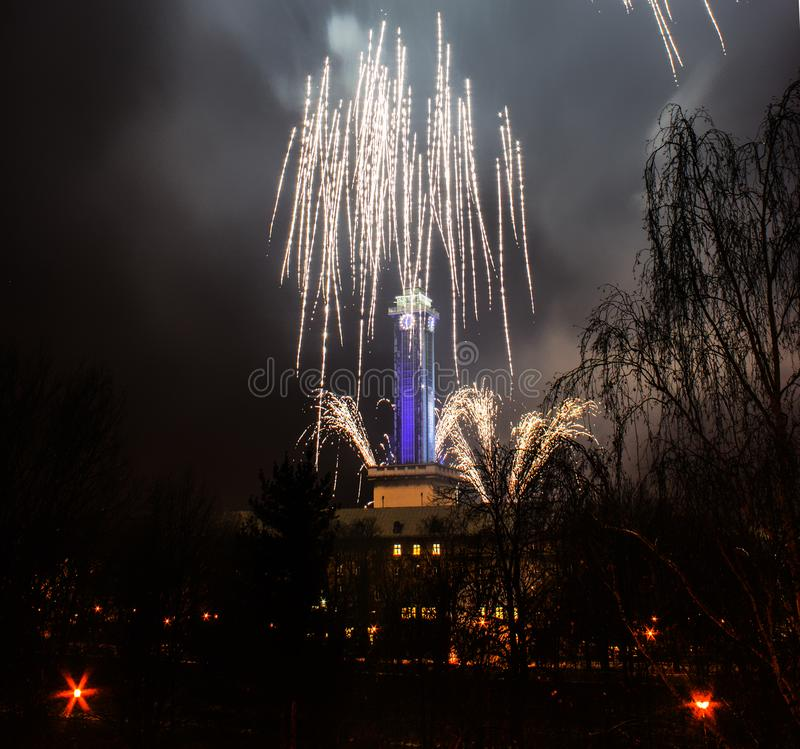 Red Blue Fireworks In Ostrava With City Hall Clock Stock