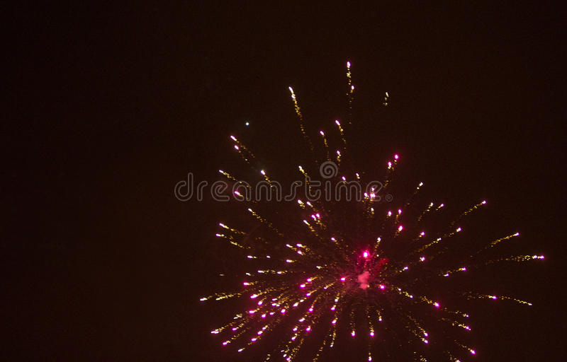 Colorful fireworks over black sky. Colorful light fireworks over black sky background stock photo
