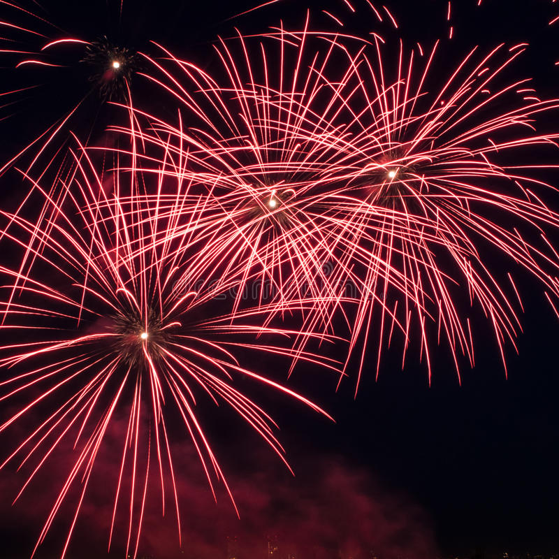 Colorful Fireworks Over Dark Sky Stock Photography