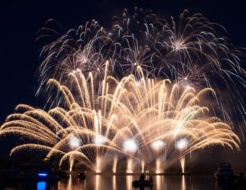 Download Colorful Fireworks Over Dark Sky Stock Photo - Image: 28497036