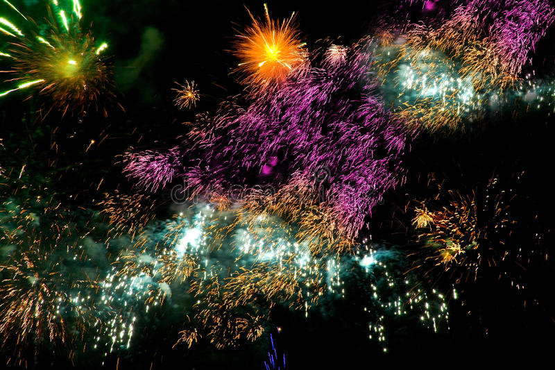 Download Colorful Fireworks Over A Night Sky Stock Photo - Image: 11255792