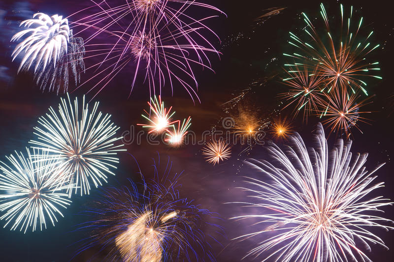 Download Colorful Fireworks Over A Night Sky Stock Photo - Image: 28501314