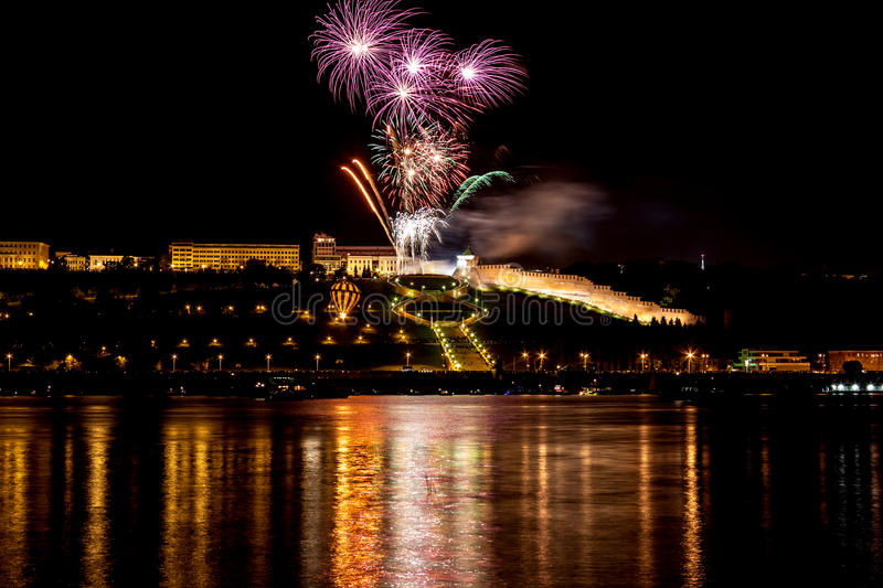 Download Colorful Fireworks Over River Stock Photo - Image: 26541752