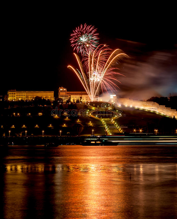 Download Colorful Fireworks Over River Stock Image - Image: 26541797