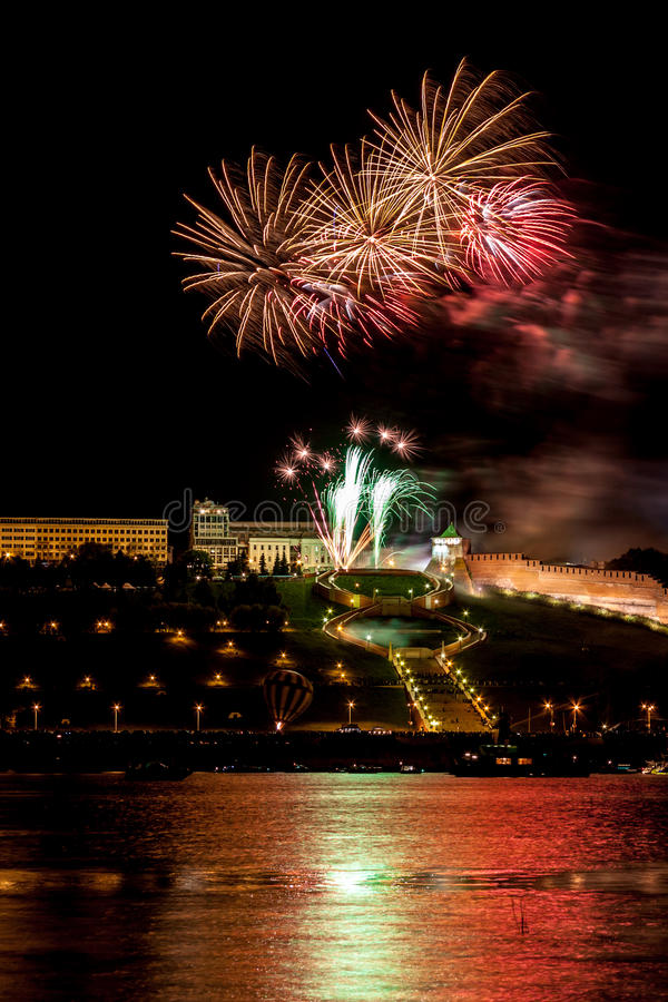 Colorful Fireworks Over River Royalty Free Stock Photo