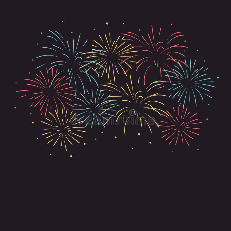 Colorful fireworks with stars. Vector illustration of colorful fireworks with stars royalty free illustration