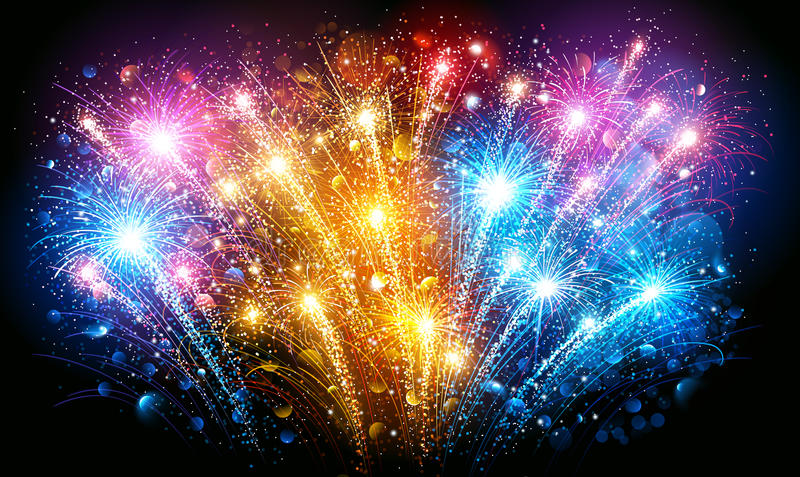 Colorful Fireworks. Vector. Festive Colorful fireworks on black background. Vector illustration stock illustration