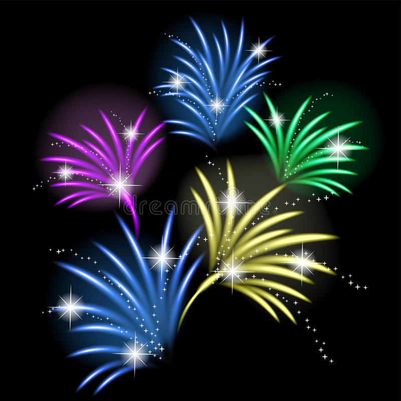 Colorful fireworks. Vivid vector illustration vector illustration