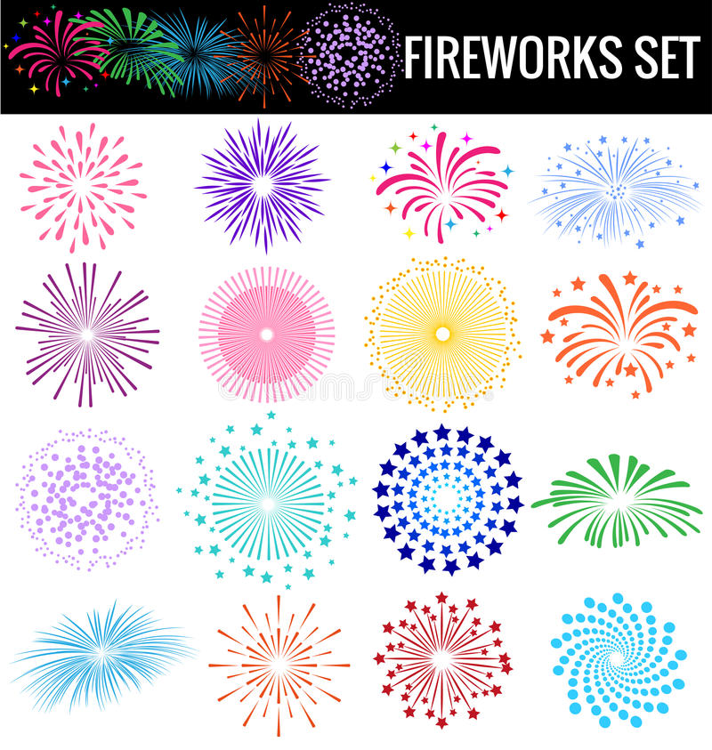 Colorful Fireworks on white background for party cerebation. Colorful Fireworks on white background royalty free illustration
