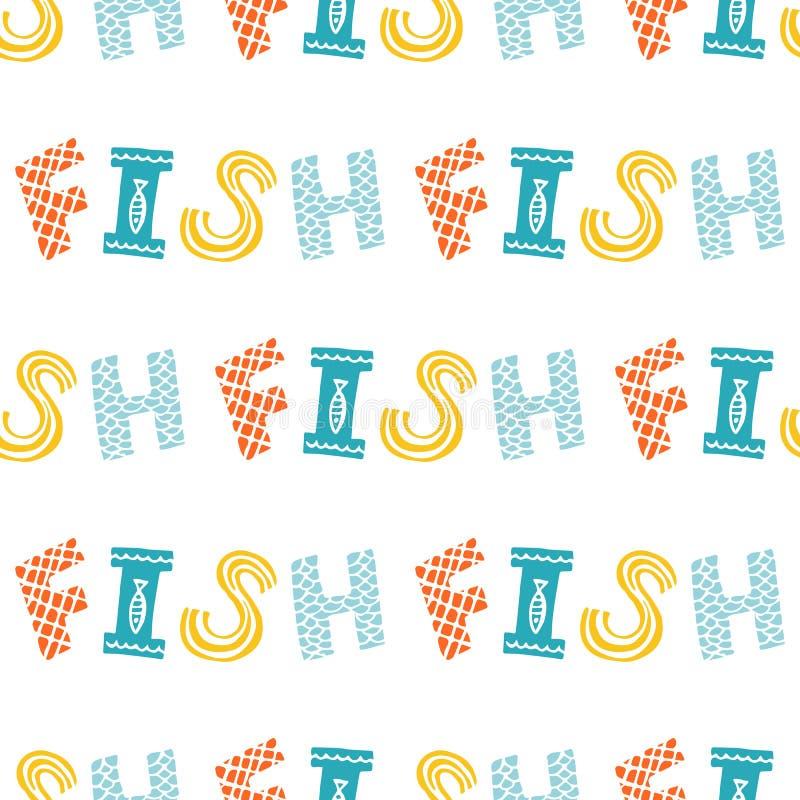 Colorful fish cartoon seamless vector pattern stock illustration