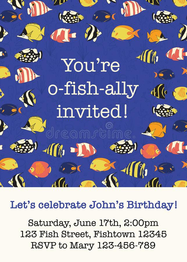 Colorful fish party invitation card template. Vector illustration tropical reef fishes. You are o-fish-ally invited. Fun save the. Date Invite for birthday vector illustration