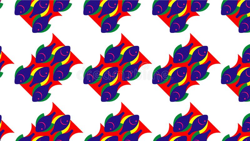 Colorful fish pattern background for kids. Watercolor fish pattern background. Graphic stylish colorful fish background for kids wallpaper sea design seamless royalty free illustration