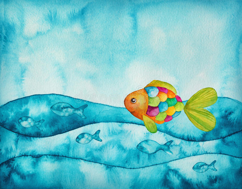Colorful fishes. Watercolor illustration of colorful fishes stock illustration