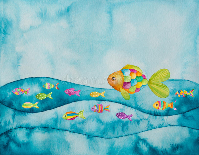 Colorful fishes. Watercolor illustration of colorful fishes vector illustration