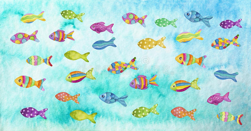 Colorful fishes. Watercolor illustration of colorful fishes royalty free illustration