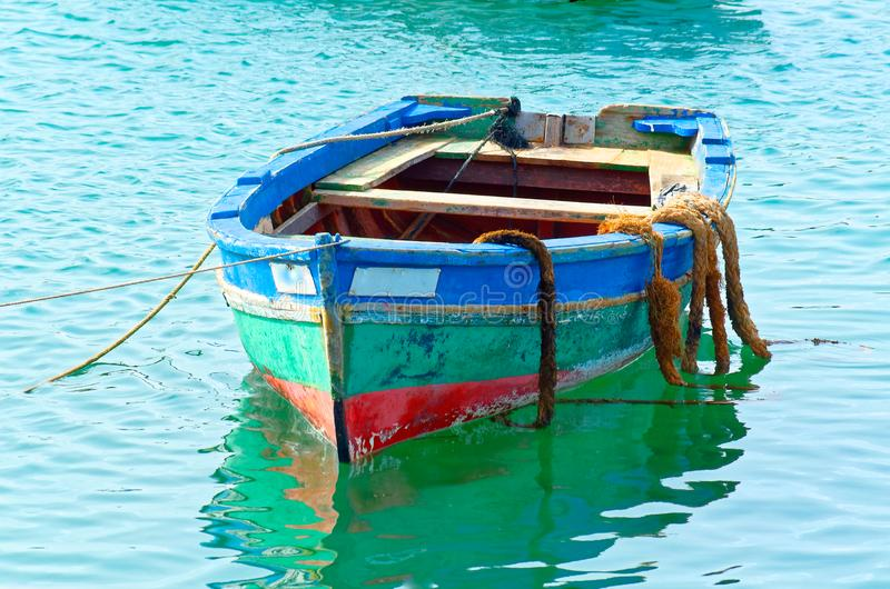 Colorful fishing boat. Island Sal, Cape Verde royalty free stock images
