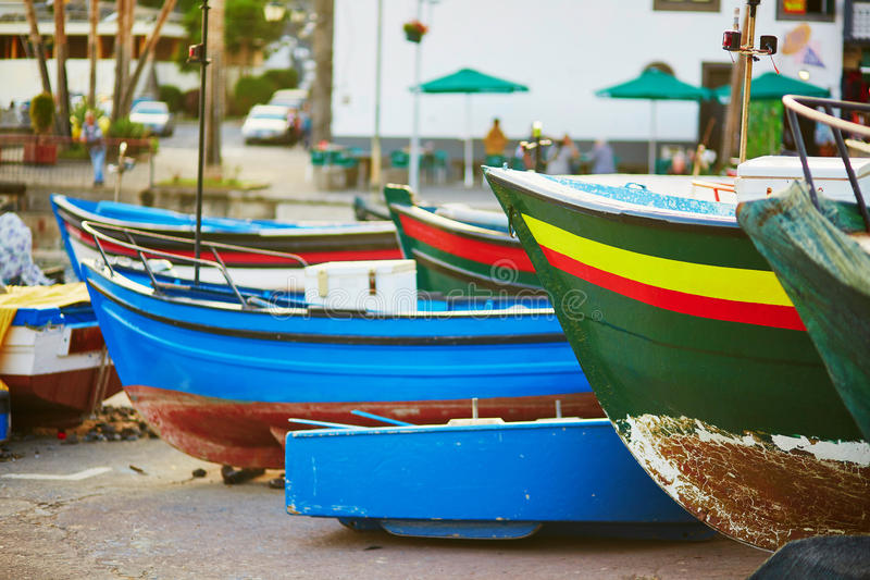 Colorful fishing boats on beach in Camara de Lobos, Madeira. Portugal stock images