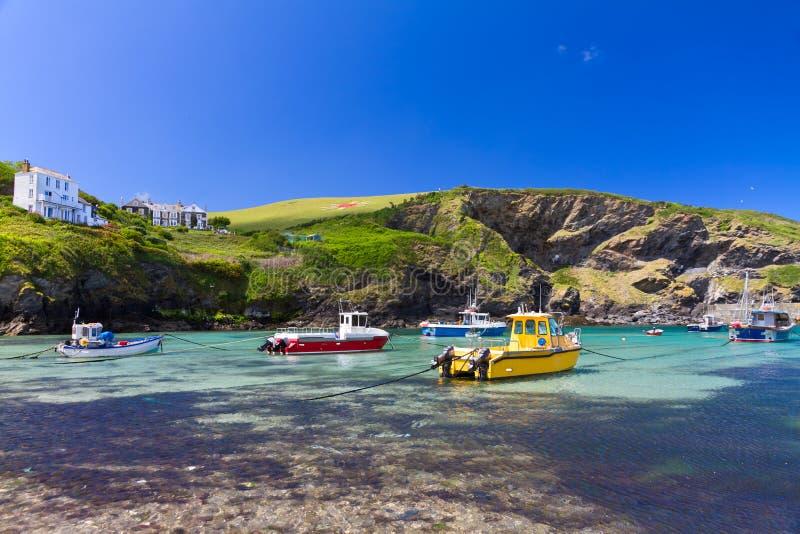 Colorful fishing boats at Port Isaac, Cornwall royalty free stock photo