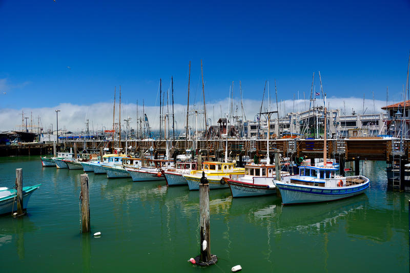 Colorful fishing boats royalty free stock photography