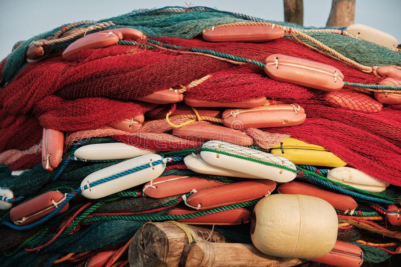 Colorful Fishing Net and Float Fisherman Equipment stock image
