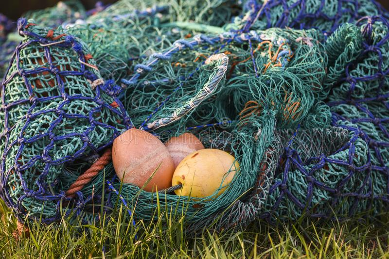 Colorful fishing nets with elements. royalty free stock photo