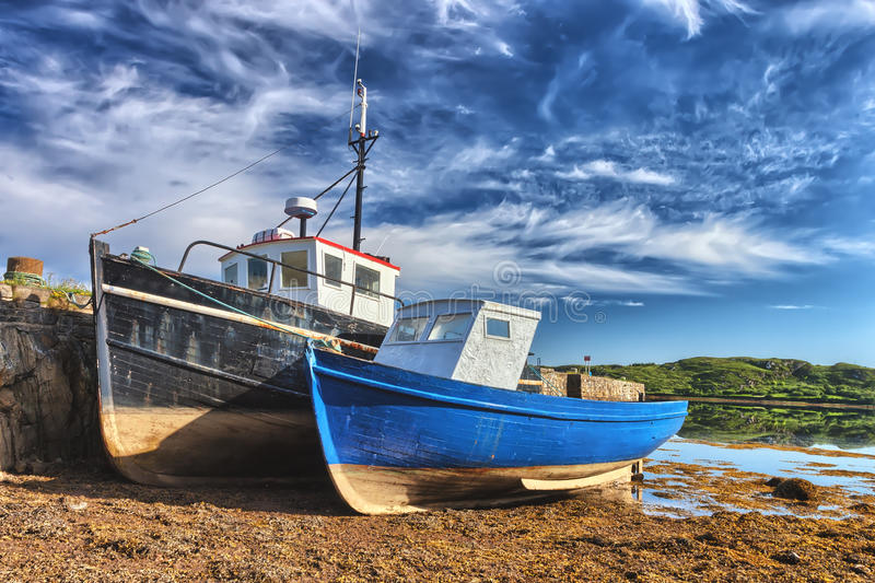 Colorful fishing ships in Ireland. stock image