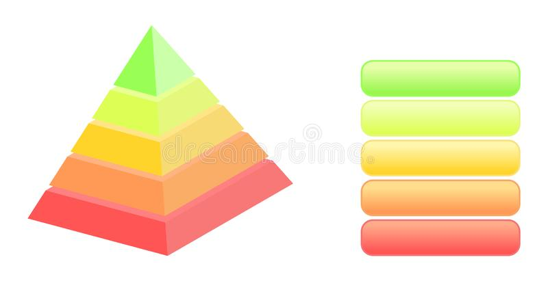 Five Level Pyramid Infographics. Colorful five level pyramid model and legends for illustration and business infographics royalty free illustration