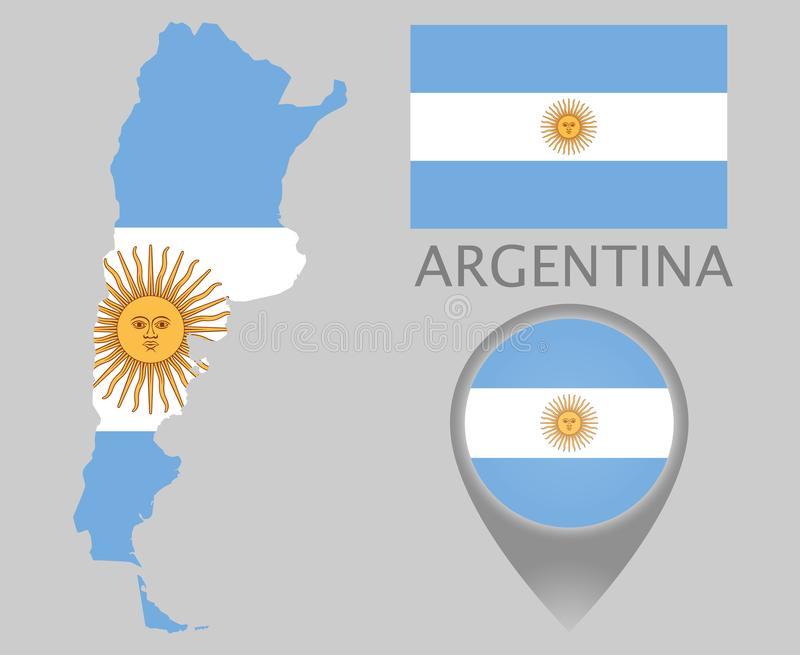 Argentina flag, map and map pointer royalty free illustration