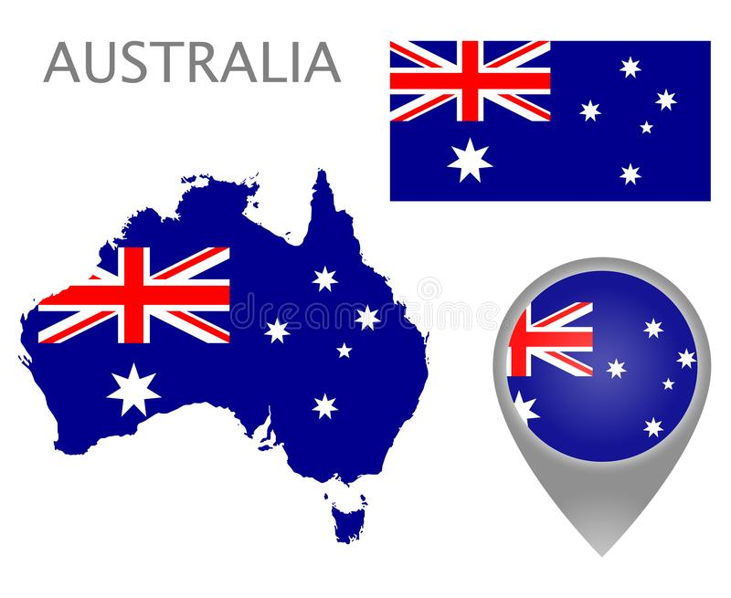 Australia flag, map and map pointer royalty free illustration
