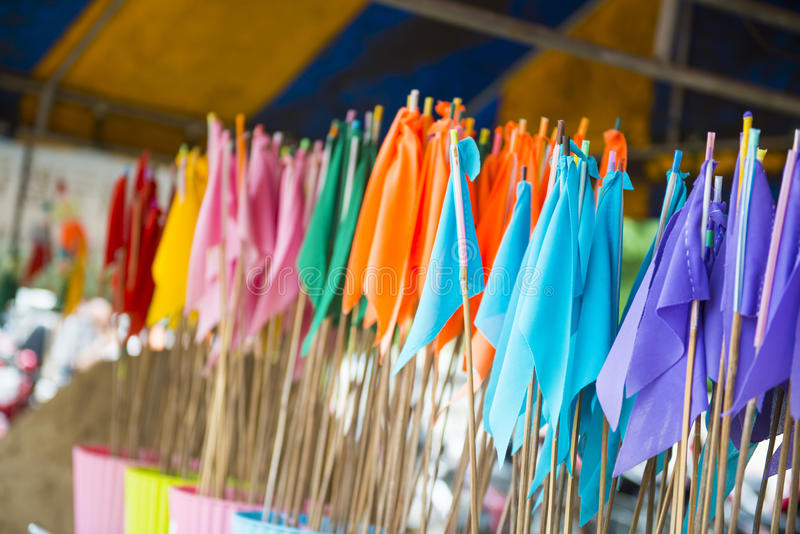 Colorful flag on the sand in temple. Festival royalty free stock image