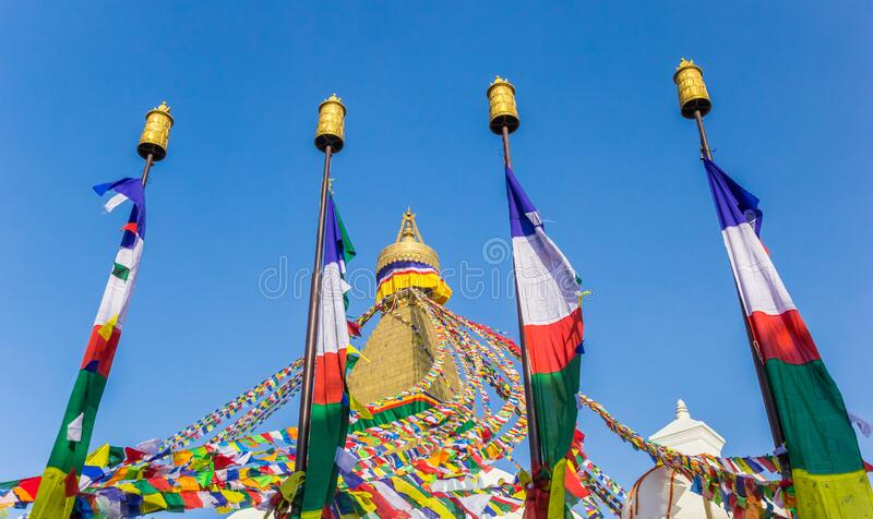 Colorful flags at the Boudhanath stupa in Kathmandu. Nepal royalty free stock images