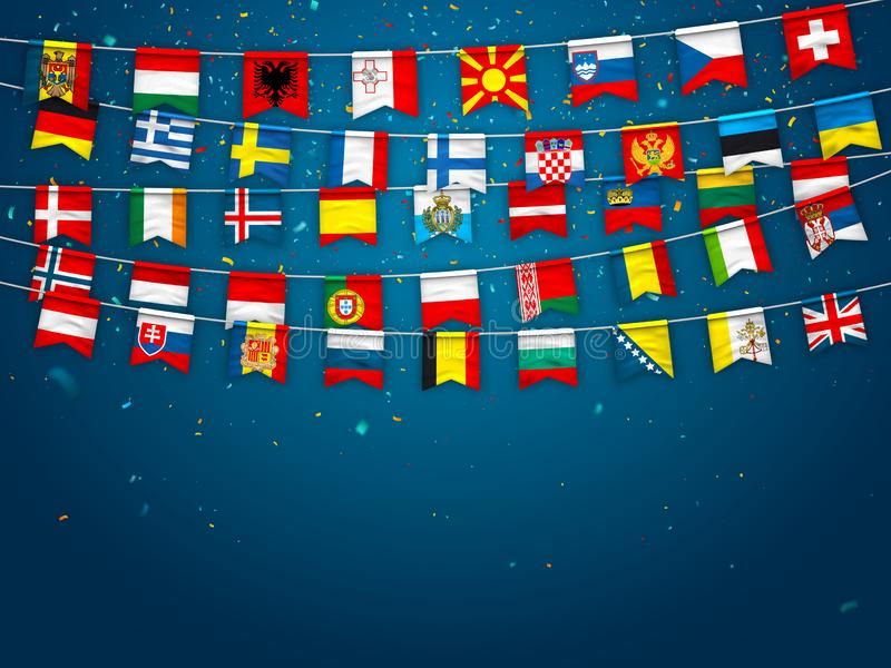Colorful flags of different countries of the europe with confetti on blue background. Festive garlands of the international royalty free illustration