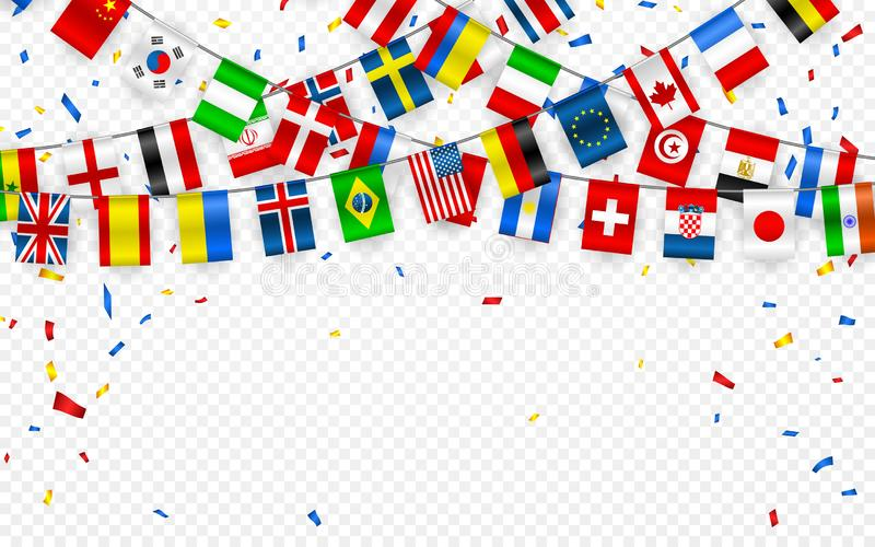 Colorful flags garland of different countries of the europe and world with confetti. Festive garlands of the international pennant. Bunting wreaths. Vector royalty free illustration