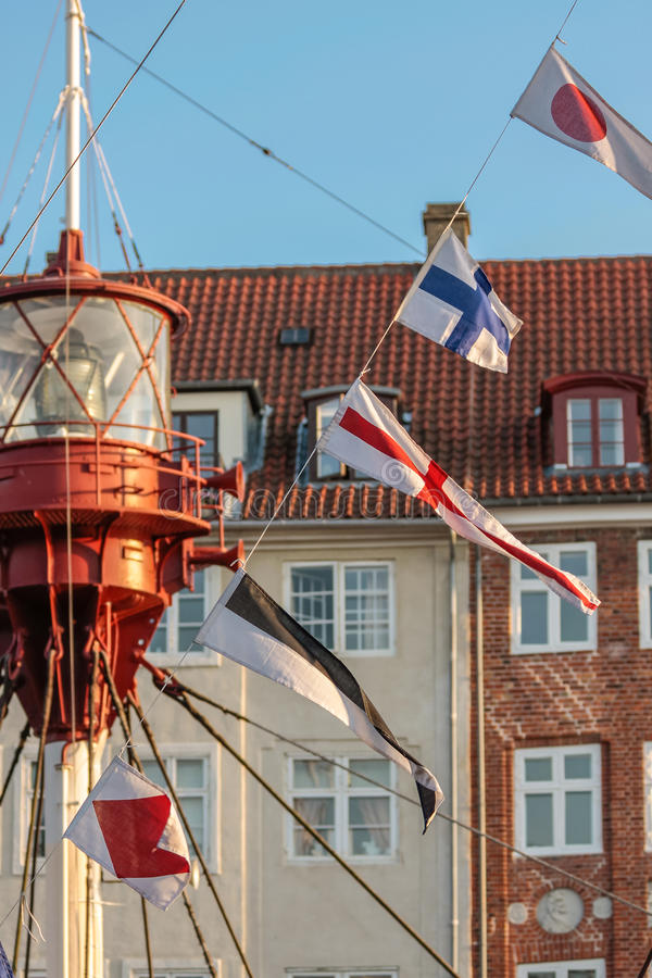 Download Colorful Flags On Old Sailing Boat Stock Image - Image: 34044361