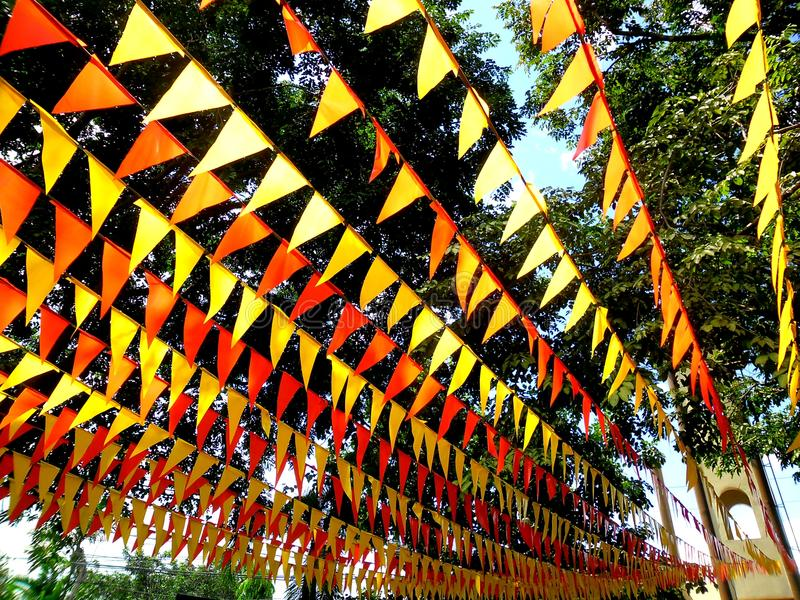 Colorful Flags Used For Decoration During A Town Feast ...