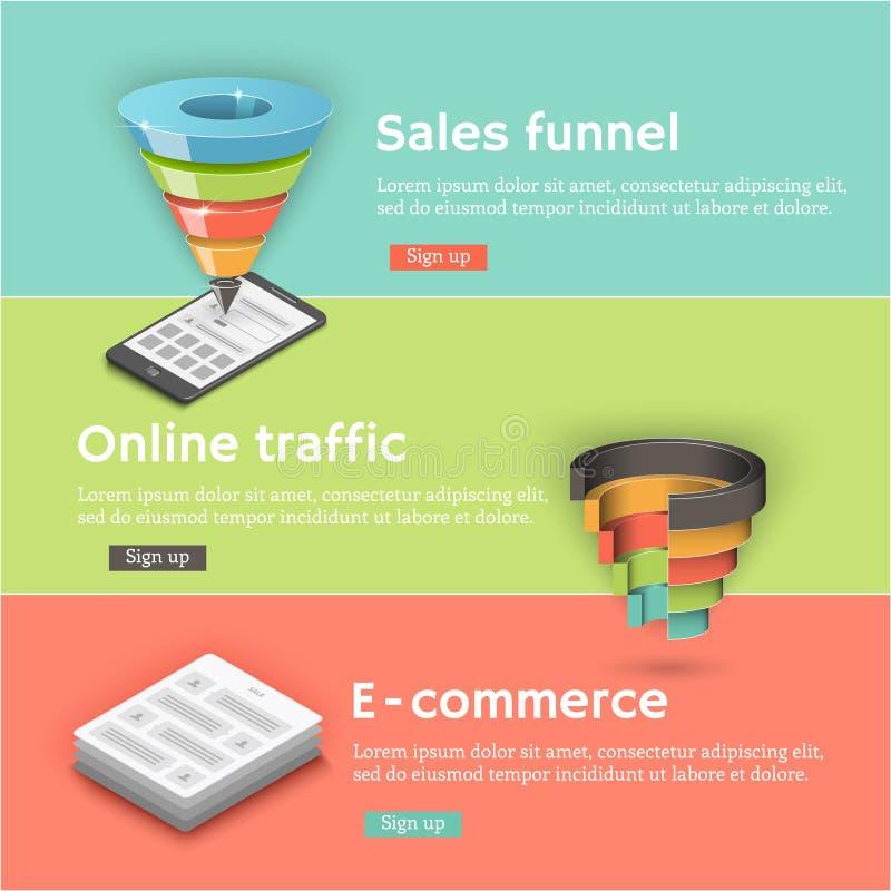 Colorful flat banners set. Sales funnel, a communicator. A laptop vector illustration