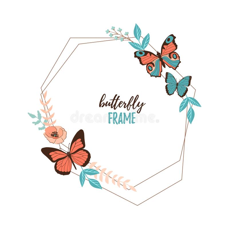 Colorful flat cartoon vector butterfly, flower and leaves frame isolated on white background vector illustration