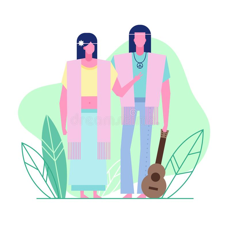 Subculture flat characters 4. Colorful flat characters,subculture music genre apparel style concept.Flat people,man and women in hippie styles clothes outfit on stock illustration