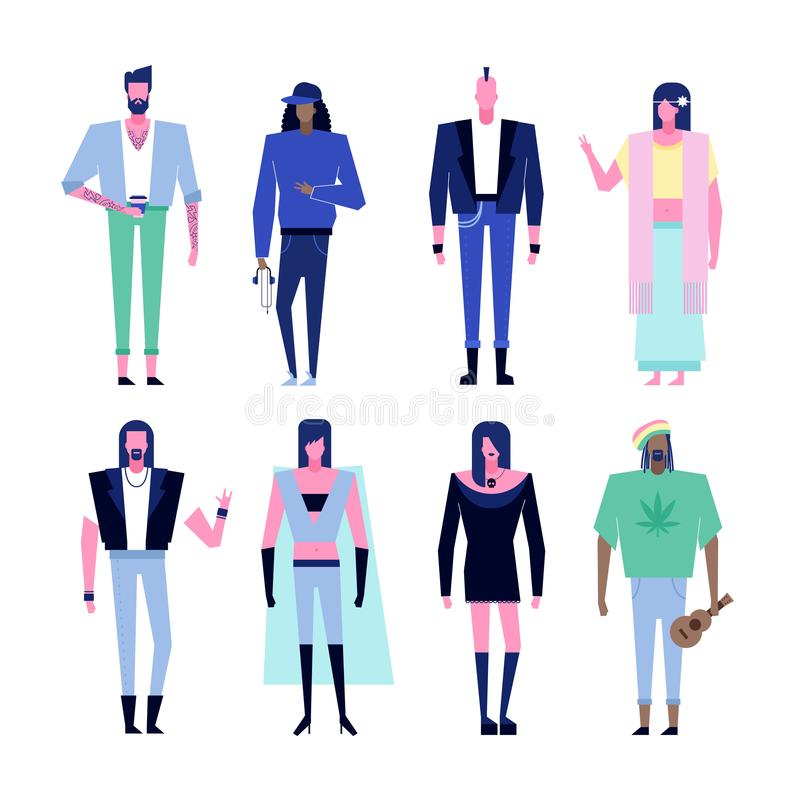 Subculture characters set. Colorful flat characters,subculture music genre apparel style concept.Flat people outfit styles diversity-hipster,hip hop,rap,punk stock illustration