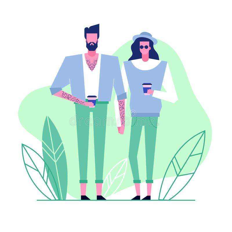 Subculture flat characters 5. Colorful flat characters,subculture music genre apparel style concept.Flat people,man and women in hipster alternative styles stock illustration