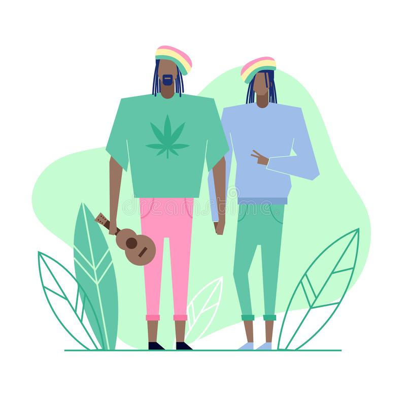 Subculture flat characters 1. Colorful flat characters,subculture music genre apparel style concept.Flat people,man and women in rasta reggae styles clothes vector illustration