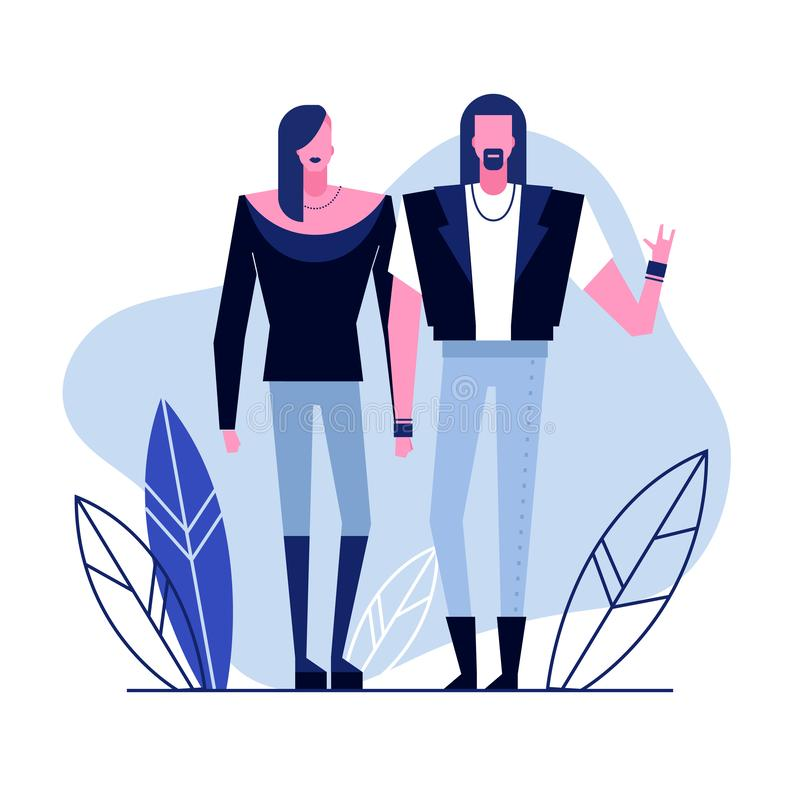 Subculture flat characters 2. Colorful flat characters,subculture music genre apparel style concept.Flat people,man and women in rock metal styles clothes outfit stock illustration