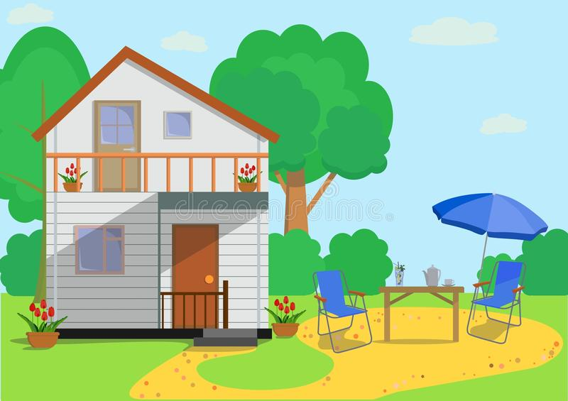 Colorful flat country house with garden objects in flat style . Vector illustration. royalty free illustration