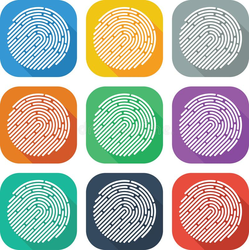 Colorful Flat Finger Print Icon Vector Design stock illustration