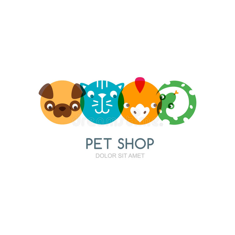 Colorful flat icons of dog head, cat muzzle, bird and snake. Vector logo design elements. Trendy concept for pet shop, pets care and grooming, veterinary vector illustration